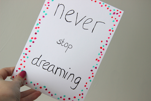 Quote Diy Never Stop Dreaming Lisanne Leeft