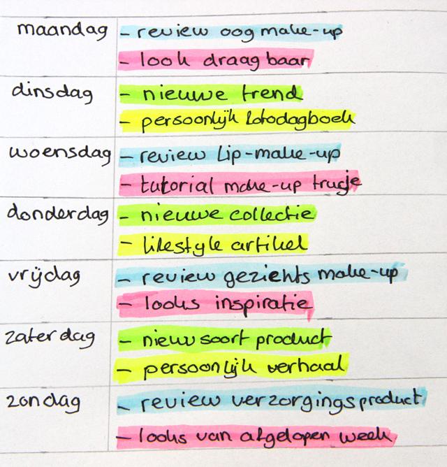 ... was het beautyblog weekplanner voorbeeld. Ik heb nog een voorbeeld: www.lisanneleeft.nl/een-contentkalender-maken-voor-je-blog