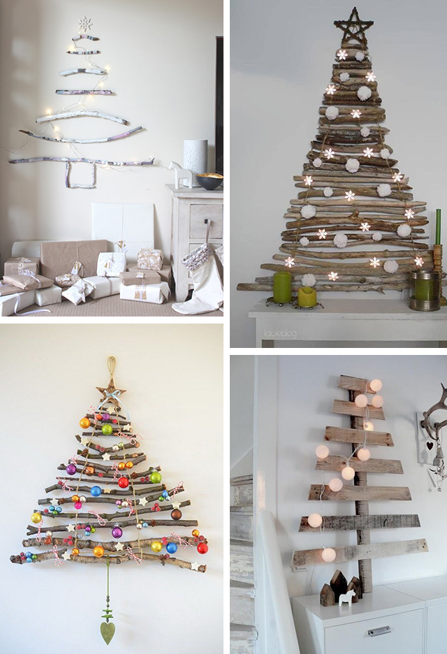 kerstbomen aan de muur met takken
